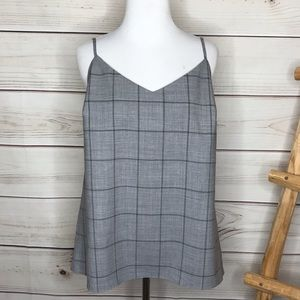 Banana Republic Gray Windowpane Cami Medium NWT
